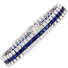 diamond bracelet with sapphire images 9 carat diamond sapphire three row white gold bracelet for sale at jpg