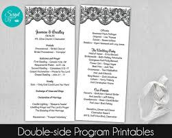 easy wedding programs lace wedding program template sided black and white