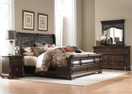 sleigh bedroom set place sleigh bed 6 piece bedroom set in brownstone finish by liberty