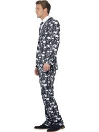 Skeleton Suit Halloween by Mens Skeleton Suit Costume Skull Print Stand Out Halloween Fancy