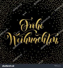 merry christmas modern frohe weihnachten gold glitter modern lettering stock vector