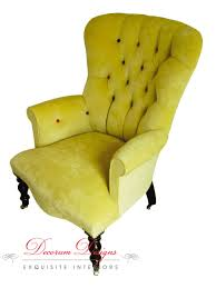 Yellow Velvet Armchair Gold Yellow Vintage Rounded Quilted Nursing Chair Armchair With