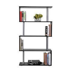 amazon com homcom s shape 5 shelf display unit bookcase black