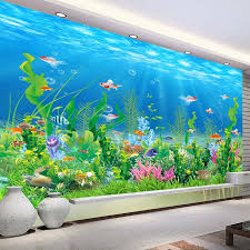 online get cheap fish wall mural aliexpress com alibaba group cartoon seabed fish seaweed wall mural custom kids wallpaper for walls children s bedroom wall paper home