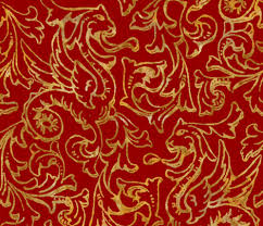 gold fabric here there be dragons gilt gold on royal red linen fabric
