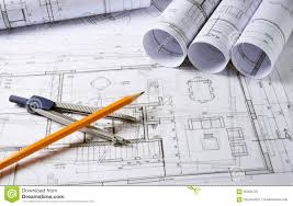 architecture plans architecture plans with compass stock photo image 60258725