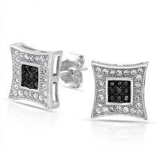 back earrings for men black white micro pave cz mens kite stud earrings 925 silver 10mm