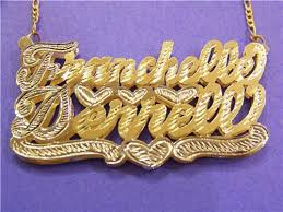 14kt gold name necklace gp two nameplate name necklace personalized hip hop nikfine