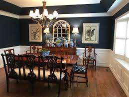 my dining room with sherwin williams naval paint color blue and