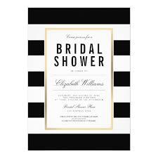 black and white invitations chic black white striped gold bridal shower invite zazzle
