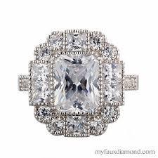 4 carat cubic zirconia engagement rings cubic zirconia radiant cut vintage engagement ring my faux