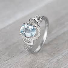 aquamarine engagement ring 14k white gold ring halo aquamarine