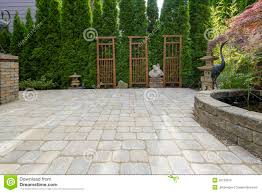 backyard paver patio with pond in garden stock photo image 25738376