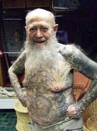 Old Man Tattoo Meme - funny old people