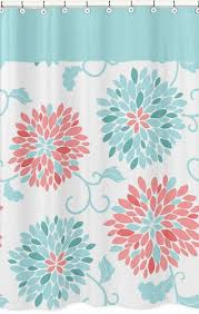 Turquoise Shower Curtain Turquoise And Coral Emma Kids Bathroom Fabric Bath Shower Curtain