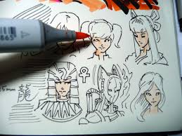 copic multiliner sp black pens sketching samples colored with