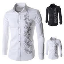 luxury brand mens shirts sleeve cotton button dress shirt