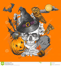 vintage halloween invitation card with skull stock vector image