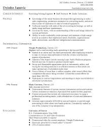 Musician Resume Sample by Stunning Resume Examples For Sound And Audio Engineer Job Position