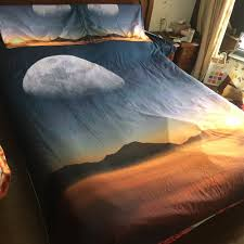 jf 114 natural scenery moon mountain sunset 3d bedding set super