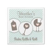 shake rattle and roll baby shower new baby paper napkins zazzle