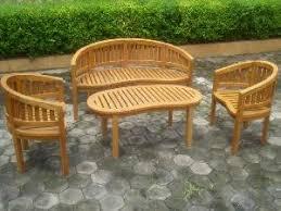 Outdoor Table And Bench Seats Teak Peanut Banana Outdoor Set Bench Chair Table Garden