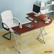 l shaped corner computer pc desk laptop table wood workstation