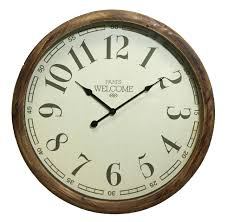 grande horloge ronde pendule murale vintage style antique en bois