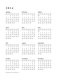 printable calendar year on one page 2014 yearly calendar printable roberto mattni co