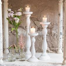 shabby chic spindle candle holder set wedding decorations