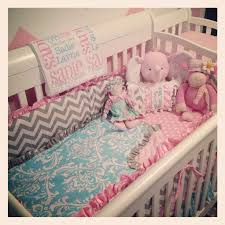 Pink And Aqua Crib Bedding Aqua Pink White And Gray Crib Bedding Bedroom Ideas
