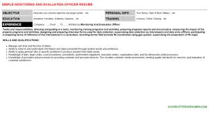 monitoring and evaluation officer cover letter u0026 resume