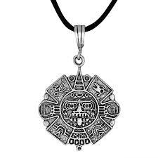 necklace pendant charm images Sterling silver 925 aztec calendar oxidized charm pendant necklace jpg
