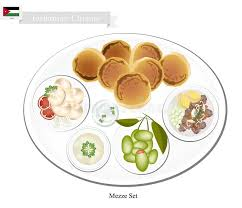 cuisine jordanienne mezze ou jordanien assorti de la nourriture orientale illustration