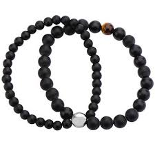 double bead bracelet images Black onyx and tigers eye mens double strand bead bracelet jpg