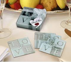 wedding coaster favors 4 set glass coaster wedding party favors