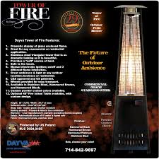 patio heater safety tower of fire outdoor patio heaters patented csa certified