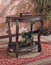 Accent Console Table Elegant Warm Brown Finish Entryway Accent Console Table