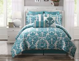 bedroom fascinating queen bedding set in teal and white queen