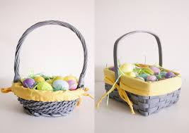 painted easter baskets gray and yellow easter baskets