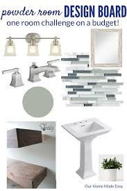 planning a budget powder room makeover one room challenge week 1