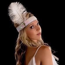 feather headband fashion diamond sequins ostrich feather headband wearing indian