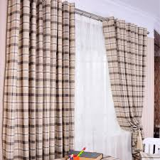 beige and gray classic casual plaid winter plaid curtains