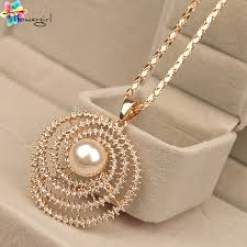gold pendant long necklace images 2016 mix order korea set drill gold plated rhinestone pearl long jpg
