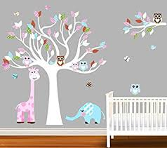 Giraffe Wall Decals For Nursery Nursery Owl Elephant Giraffe Tree Bird Wall Decal