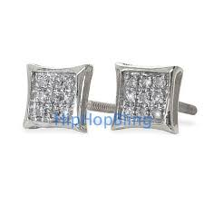 real diamond earrings real diamond hip hop earrings kite 05 carats 10k white gold 10k