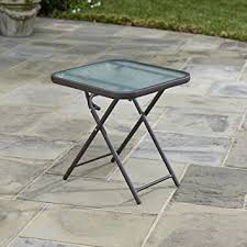 Metal Patio Side Table Folding Patio Side Table Brown 18 Powder Coated