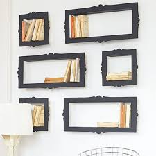 beautiful black finished wall mounted bookshelves plan as