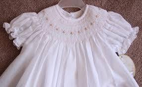 will beth newborn infant baby smocked white pink bishop dress
