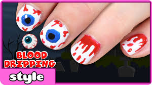 blood dripping nails for halloween halloween nail art ideas